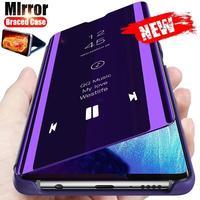 Espejo inteligente Flip funda de teléfono para Xiaomi Redmi Nota 10 9 8 7 6 9T 8T 10X 9A 9C 8A K40 K30 K20 POCO M3 X3 de cuero cubierta