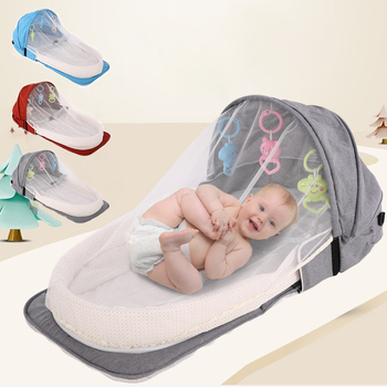 Portable Baby Crib Newborn Baby Bed Folding Travel Beds Nest Infant Bassinet Cot With Toys Mosquito Net Cribs For Baby Sleeping baby foldable crib travel portable newborn bed sleeping basket bassinet multifunctional portable baby crib with mosquito netting