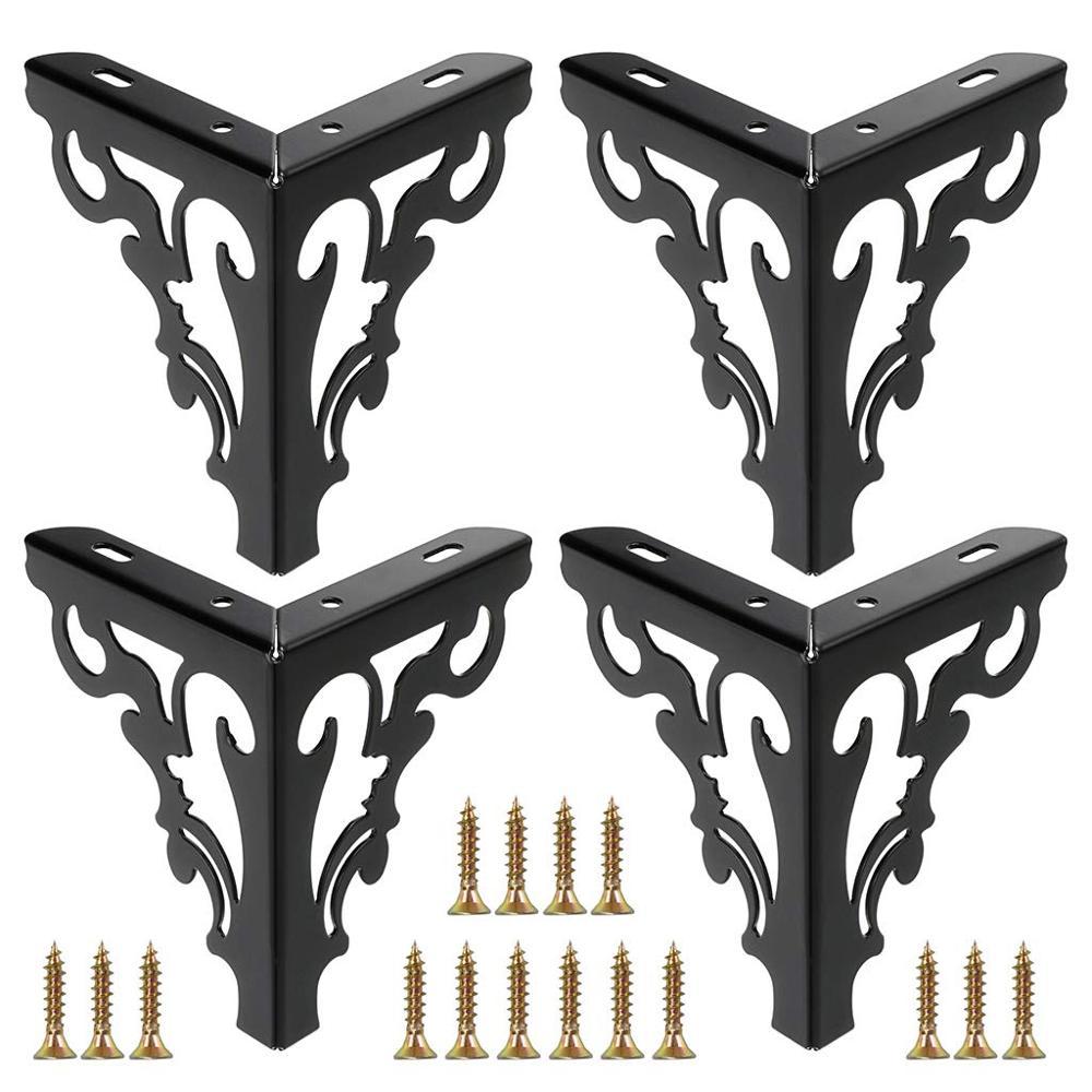 4Pcs 15cm Metal Furniture Legs Feet Matte Black Sofa Legs Modern Hollow Patten Table Cabinet Bed Feet Furniture Accessories