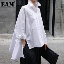 [EAM] 2021 Neue Frühling Herbst Revers Langarm Weiß Zurück Lange Lose Große Größe Unregelmäßigen Shirt Frauen Bluse mode Flut JU847