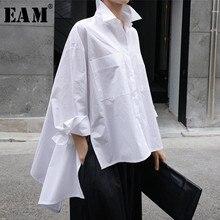 [EAM] 2021 New Spring Autumn Lapel Long Sleeve White Back Long Loose Big Size Irregular Shirt Women Blouse Fashion Tide JU847