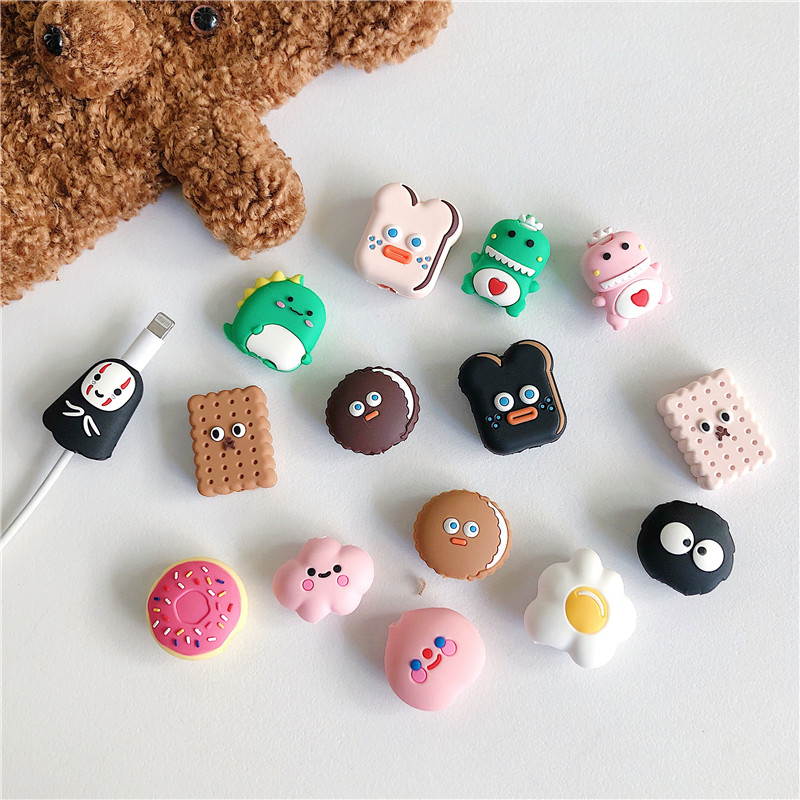 Cute Cartoon Cable Protector Mobile phone Data Line Cord Protective Case Cable Winder Cover for iPhone USB Charging Cable