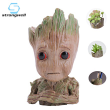 цены Strongwell Wronged Baby Groot Doll Figurine Flower Pot Pen Holder Tree Man Model Toy Marvel Guardians Groot Action Figures Kids