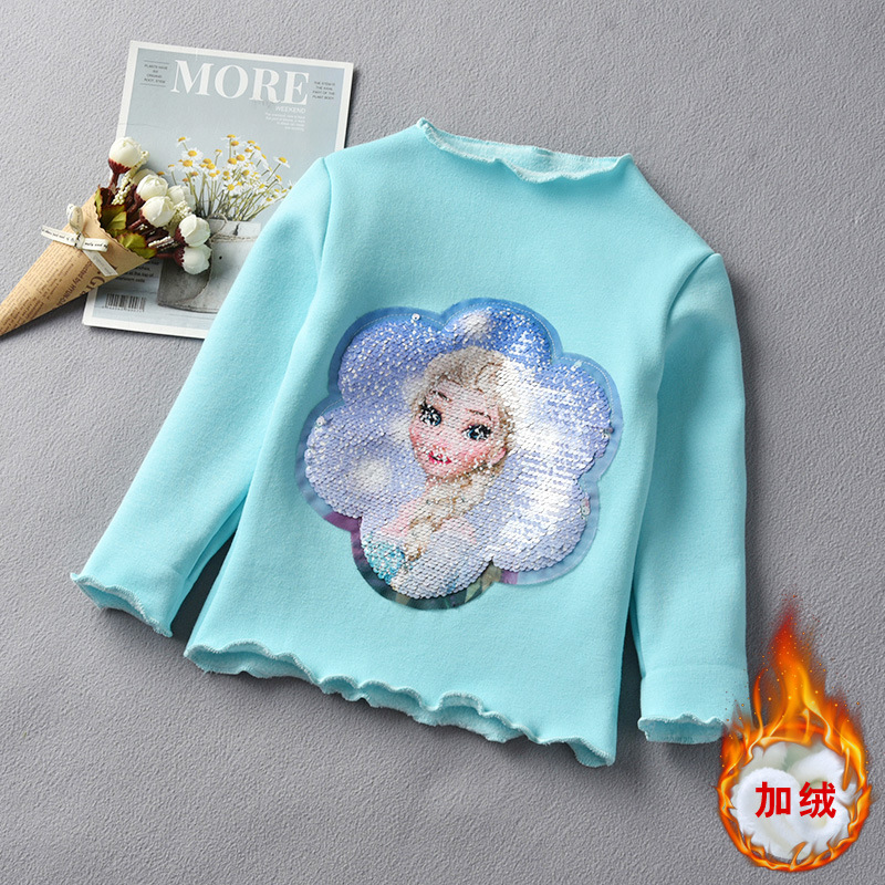 Little Girls Winter Shirt Long Sleeve Warm Shirt with Fleece Sequin Prinicess Elsa Shirts Children Tops Baby Girl Fashion Outfit 4