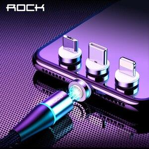 ROCK 5A-Cable magnético para móvil, Cable Micro USB tipo C de carga rápida para iPhone 11 y Huawei