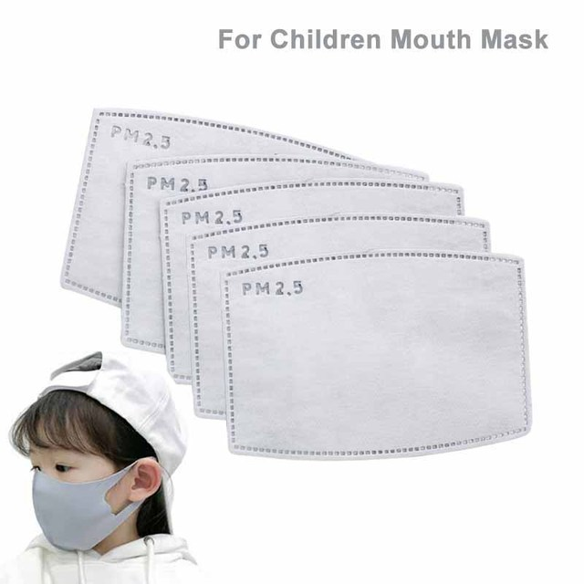 10Pcs PM2.5 Mouth Mask Replaceable Filter-slice 5 Layers Non-woven Activated Carbon Face Mask Filter for Child Kids