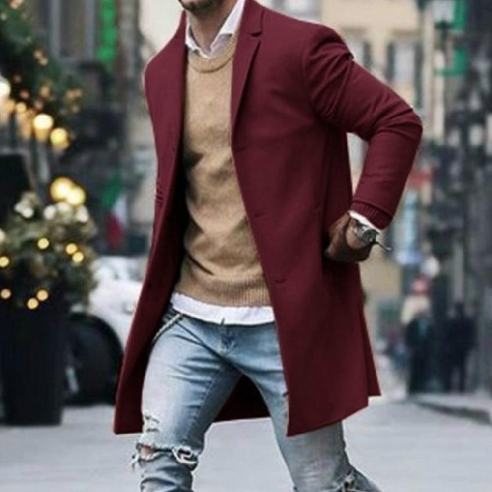 Men's Winter Lapel Solid Single Breasted Pocket Wool Jacket Trench Coat Men's Autumn Winter Warm Slim Men's Coat Trench Coat