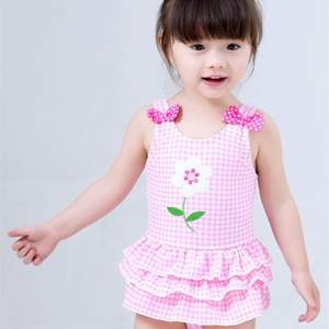 2020 Hot Selling KID'S Swimwear Big Boy Infants GIRL'S Plaid Embroidered Bow Skirt One-piece Swimwear