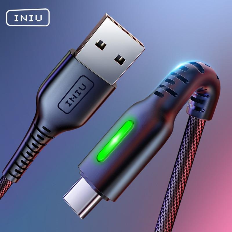 INIU 3A LED USB Type C кабель Быстрая зарядка мобильный телефон USB C зарядное устройство Android Type C кабель для передачи данных Зарядка для Xiaomi Samsung S10 S9|Кабели для мобильных телефонов|   | АлиЭкспресс