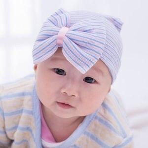 Emmababy полосатая повязка на голову для новорожденных девочек головной убор для малышей Мягкая шапочка с бантом
