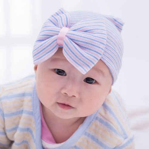 Emmababy 신생아 아기 소녀 스트라이프 머리띠 모자를 쓰고 있죠 유아 부드러운 비니 모자와 활