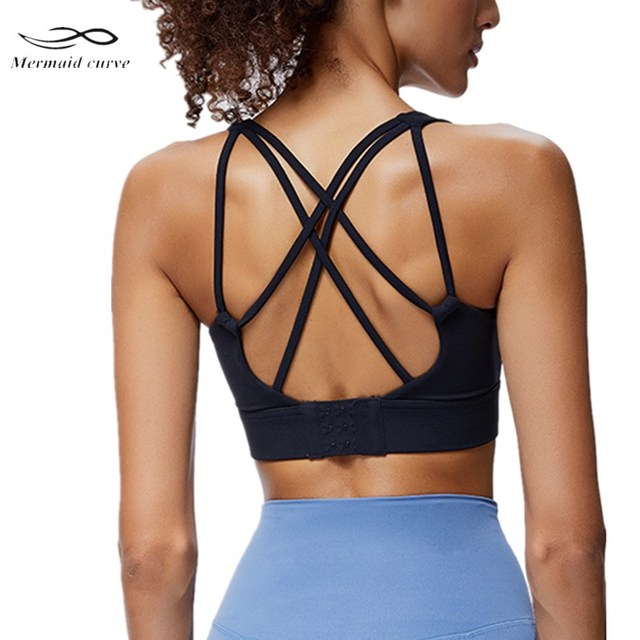 Mermaid Curve Adjustable Back Buckle Women Sports Bra Sexy U Collar Running Yoga Bra High Strength Shockproof Gym Fitness Bra