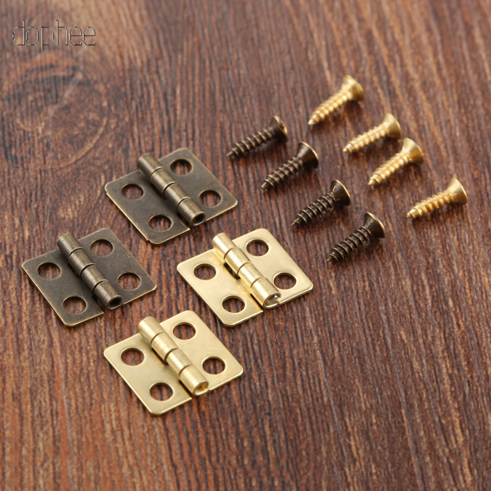 dophee 10/20/40/50pcs Stainless Steel Hinges Cabinet Door Drawer Decorative Hinge For Jewelry Wooden Box Furniture Hardware