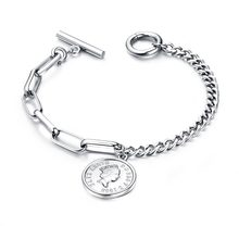 VOQ New Arrival Vintage Coin Bracelets for Women Lady Charm Pendant Stainless Steel Chain Bracelets Luxury Jewelry(China)