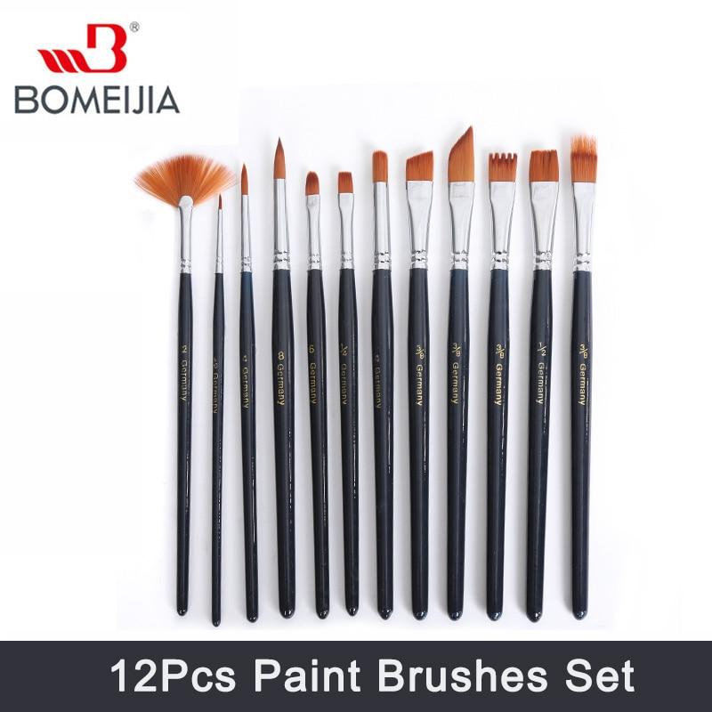 Domeijia 12 шт. набор кистей для рисования нейлоновые кисти для рисования кисть для масла акриловые акварельные художественные акриловые кисть