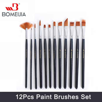 BOMEIJIA 12Pcs Paint Brushes Set Nylon Hair Painting Brush for Oil Acrylic Watercolor Artist Acrylic Paints Brush Art Supplies - DISCOUNT ITEM  20% OFF All Category
