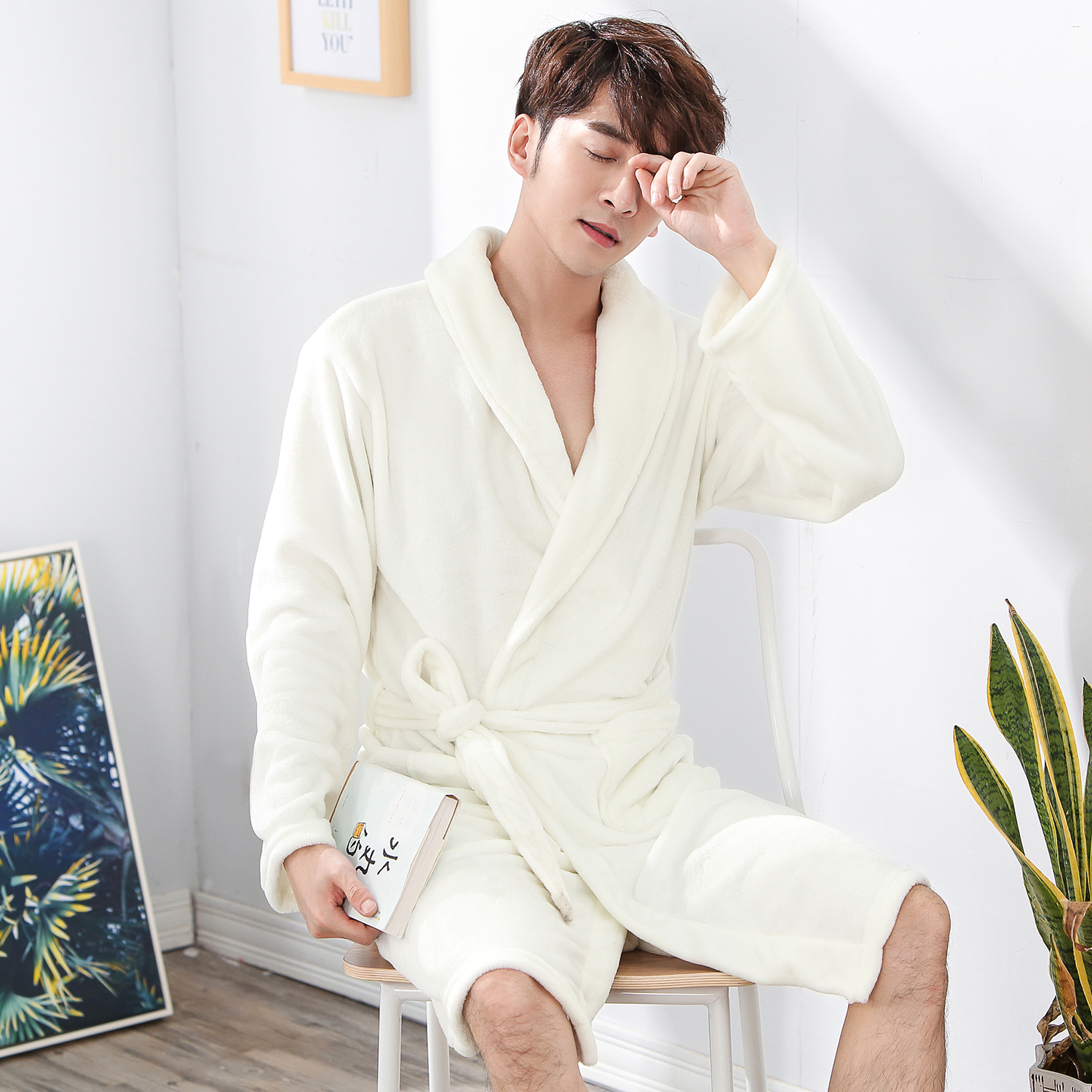 Elegant White Men Winter Sleepwear Kimono Robegown Comfortable Casual Soft Nightwear Homewear Keep Warm Flannel Bath Gown Pajama