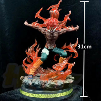 Naruto Might Guy Statue  Painted Model Anime PVC Naruto Actioin Figure Toy Collection LED Light In Box 31cm