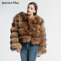 2019 New Design Real Raccoon Fur Coat Top Quality Women Winter Thick Warm Jacket Natural S7374