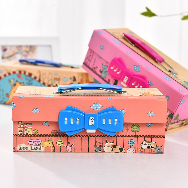 Drawer Type <font><b>Big</b></font> <font><b>Pencil</b></font> <font><b>Case</b></font> with Code Lock Three-layer Cartoon Large Capacity Portable Pencilcase <font><b>Kawaii</b></font> Makeup Girl <font><b>Pencil</b></font> Box image