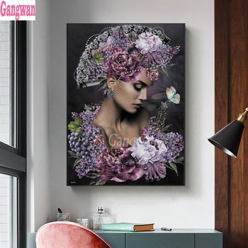 diamond embroidery iris flower woman cross stitch Diy painting sale European sexy beauty 3d picture of rhinestone mosaic - discount item  45% OFF Arts,Crafts & Sewing
