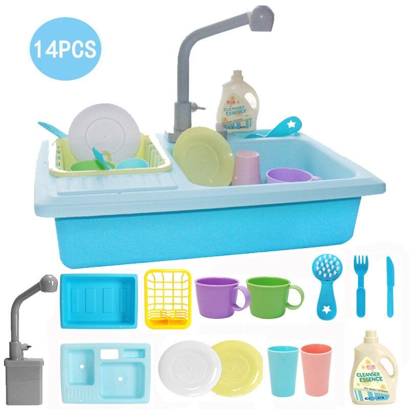 Детская пластиковая имитация электрическая посудомоечная машина дети раковина игрушечный миксер играть игрушечные наборы подарки для дев