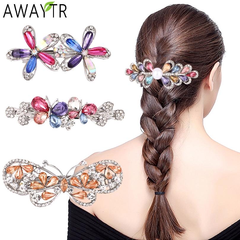 AWAYTR Flower Rhinestone Barrettes Women Hair Accessories Bow Crystal Hair Clip Girls Pearl Hair Pins Headbands Jewelry Hairgrip