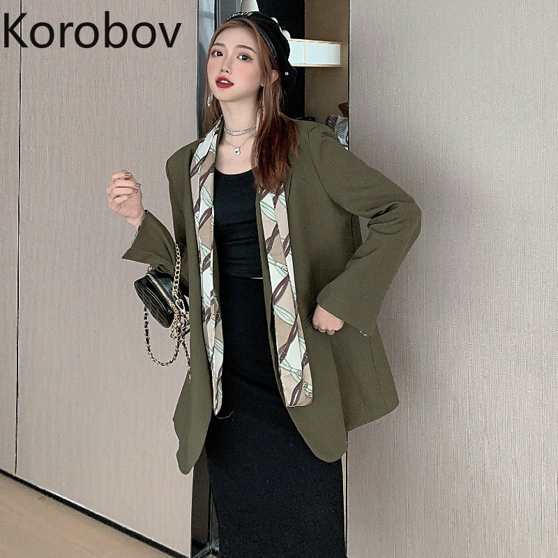Korobov Women Blazer Notched-Collar Coat Feminino Patchwork Long-Sleeve Korean Scarf