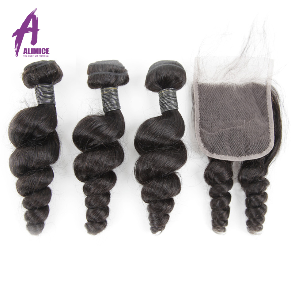 Alimice Hair Indian Loose Wave Bundles With Closure 100% Remy Human Hair 3 Bundles With 4*4 Lace Closure Free/Middle/Three Part-in 3/4 Bundles with Closure from Hair Extensions & Wigs    1
