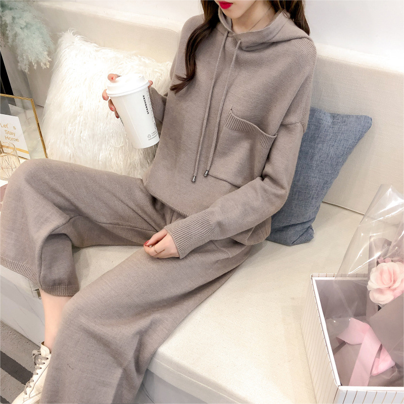 Hooded Shirt Women's Two-piece New Spring And Autumn Loose Korean Version Of The Wide-leg Pants Casual Knit Suit