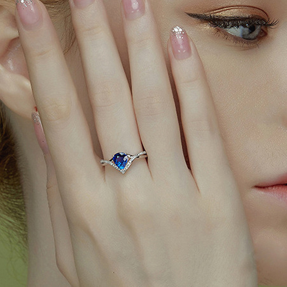 Fashion delicate water drop blue crystal sapphire gemstones diamonds rings for women white gold silver color bague bijoux gifts