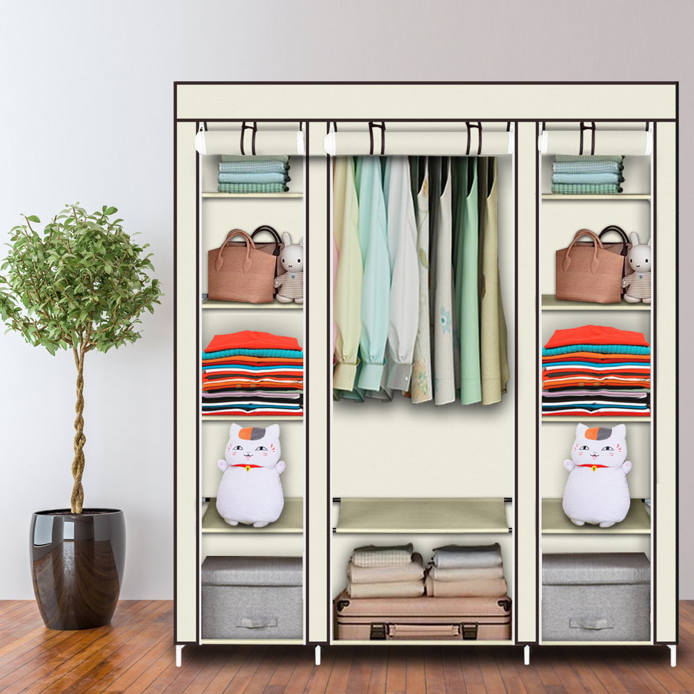 5 layer 12 grid Large Capacity Non woven Cloth Wardrobe Folding Portable DIY Clothes Storage Cabinet Closet Home Furniture Wardrobes     - title=