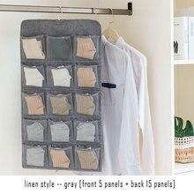 Storage Artifact Imitation Linen Double Sided Hanging Bag Wall Mounted Dormitory Wardrobe