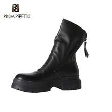 Novo estilo de volta zíper franja tornozelo botas dedo do pé redondo fundo grosso tubo médio casual all-match confortável botas curtas femininas