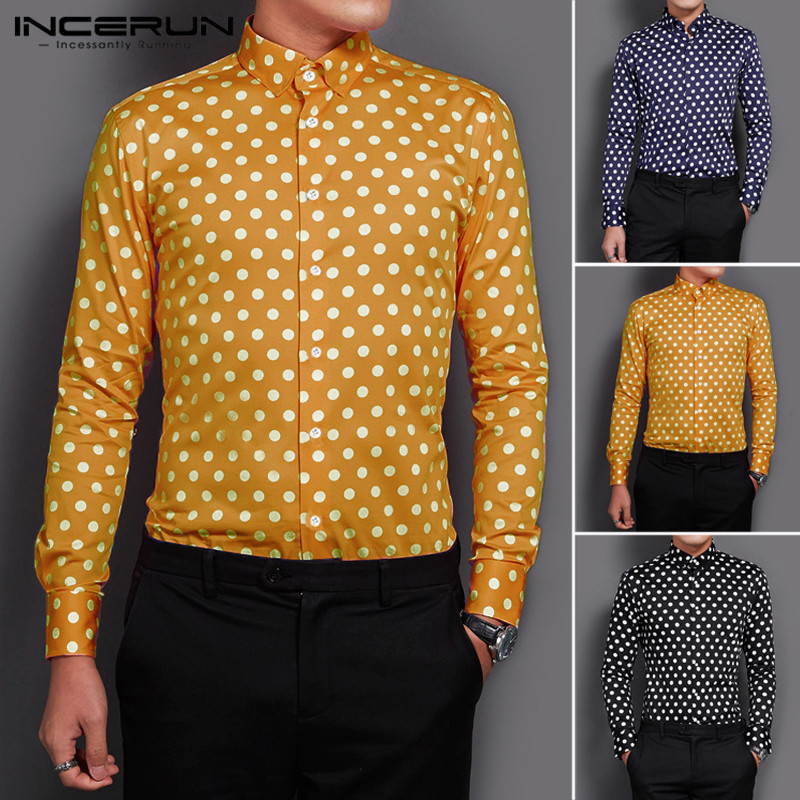 INCERUN Fashion Polka Dot Shirt Men Long Sleeve Chic Lapel Button Casual Camisa Autumn Brand Business Social Men's Shirts 2019