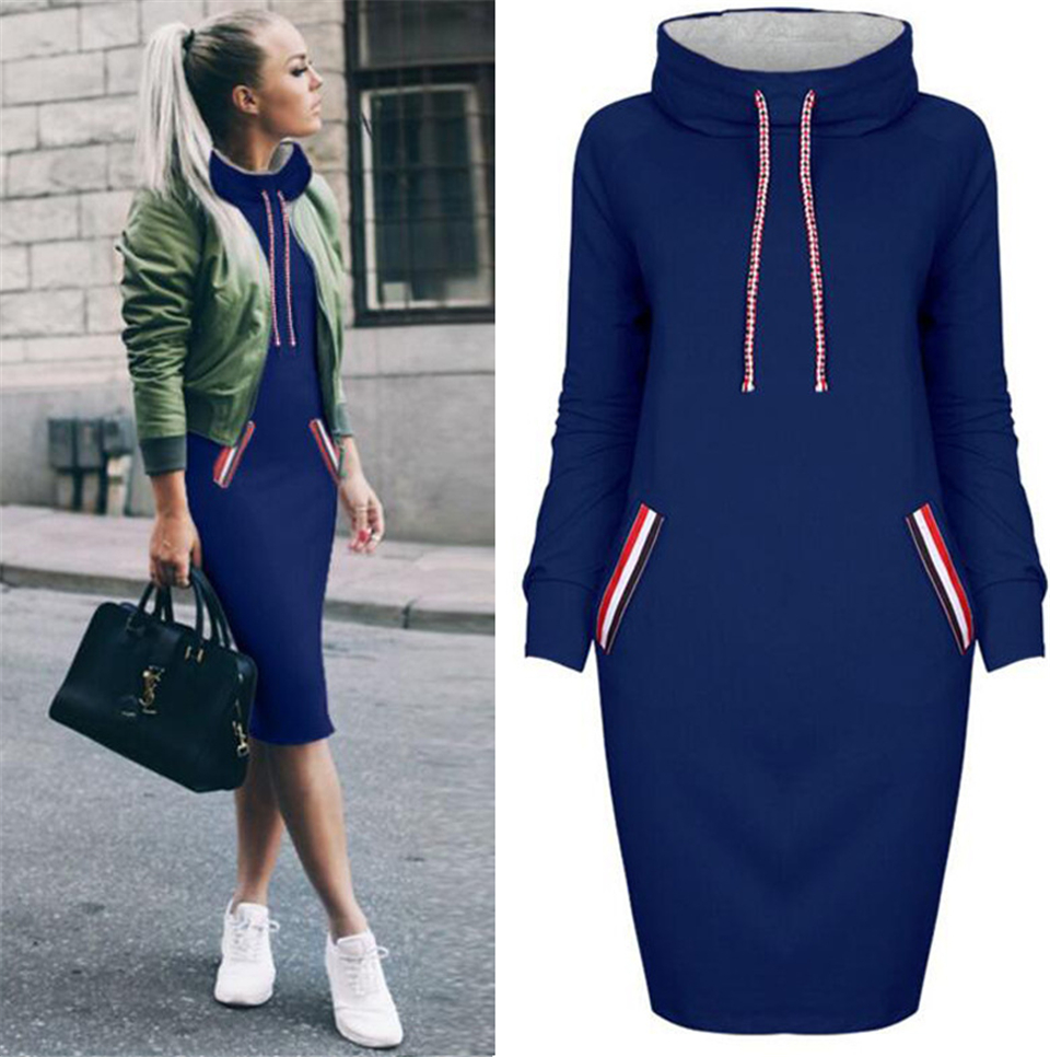 Hd99695ab018642e1af10853a4b7b8e6eA - BKMGC Women Pockets Pullover Long Sweatshirt Dress Casual Dress Hoodies Women Tracksuit Sweatshirt Female Hoodie Dress