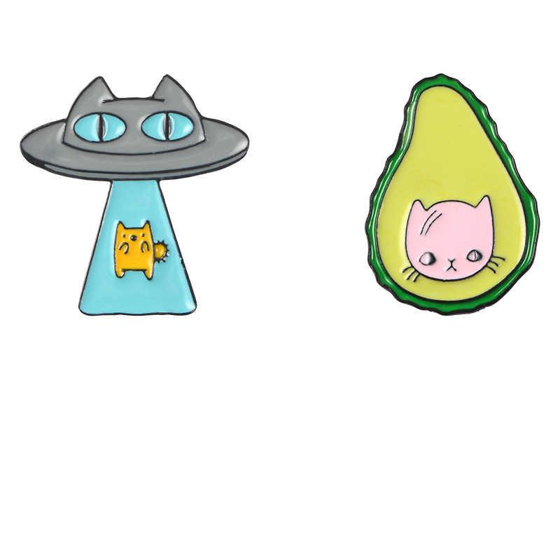 Новый НЛО мультфильм инопланетянин авокадо Пицца Кошка Брошь космический
