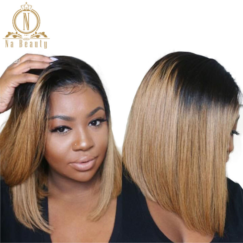 1b 27 Ombre Wigs Honey Blonde Glueless 13x6 Lace Front Short Bob Wigs Straight Peruvian Human Remy Hair Wigs For Women Nabeauty