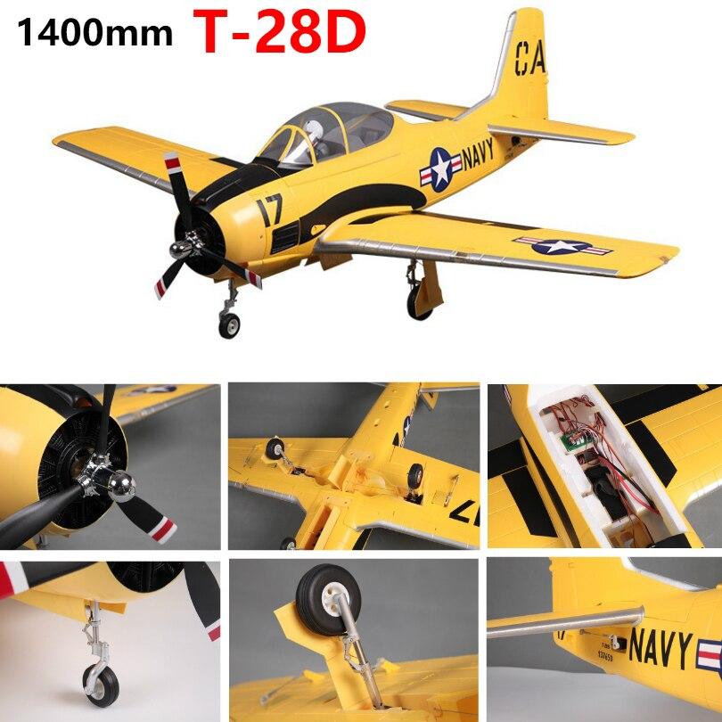 Модель радиоуправляемого самолета FMS 1400 мм 1,4 м T28 T-28 Trojan V4 6CH с откидными клапанами, светодиодный EPO PNP RC, американская модель Warbird, самолет