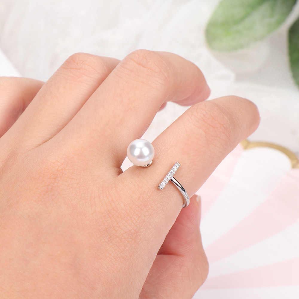 Gioielli di moda regolabile anello d'imitazione della perla anello per le donne del partito di nozze anello in oro rosa di amicizia di san valentino regalo di giorno