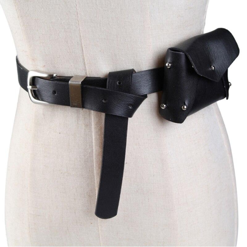 Running Bags Female Fanny Pack Rivet PU Leather Belt Bag For Women Mini