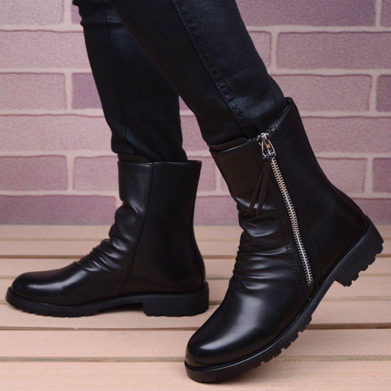 Image 2 - men casual stage motorcycle dresses cowboy boots spring autumn  genuine leather shoes pointed toe military boot ankle bota sapatoBasic  Boots