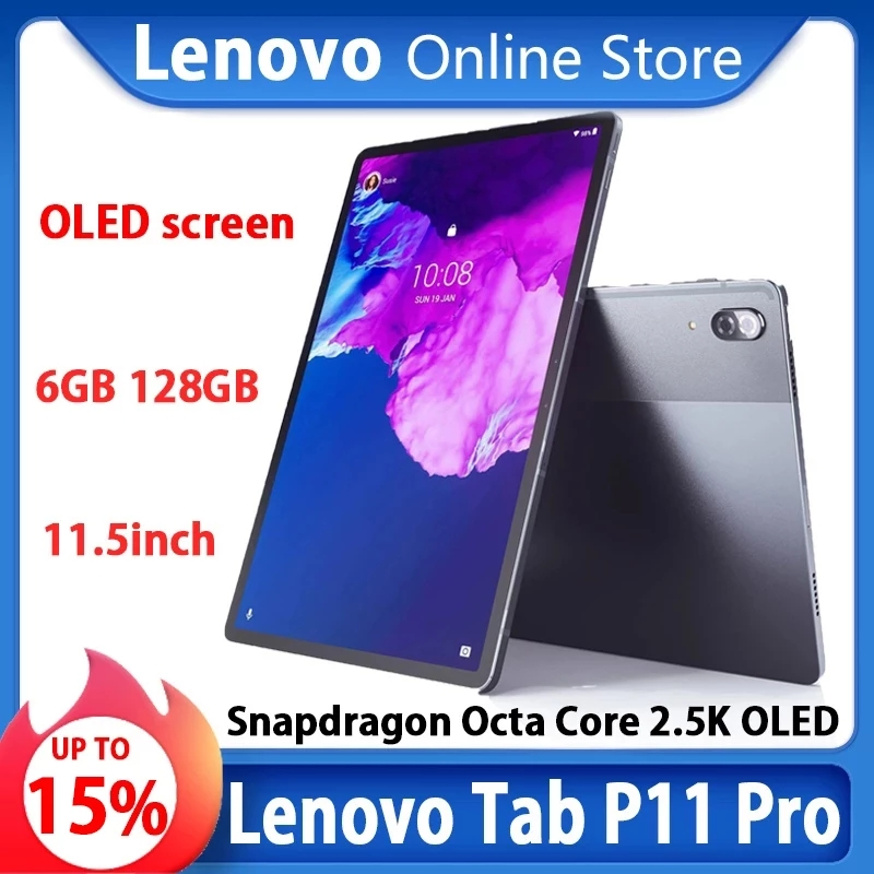 Планшет Lenovo Tab P11 Pro Xiaoxin Pad Pro, Восьмиядерный процессор Snapdragon 730, 6 ГБ ОЗУ, 128 Гб ПЗУ, экран 11,5 дюйма 2,5 K OLED, 8500 мАч, Android 10