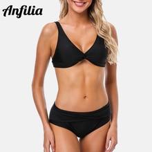 Anfilia Women Bikini Set Striped Swimwear back Strappy Adjustable Swimsuit Cross Front Bathing Suit Padded Beachwear padded criss cross strappy bikini set