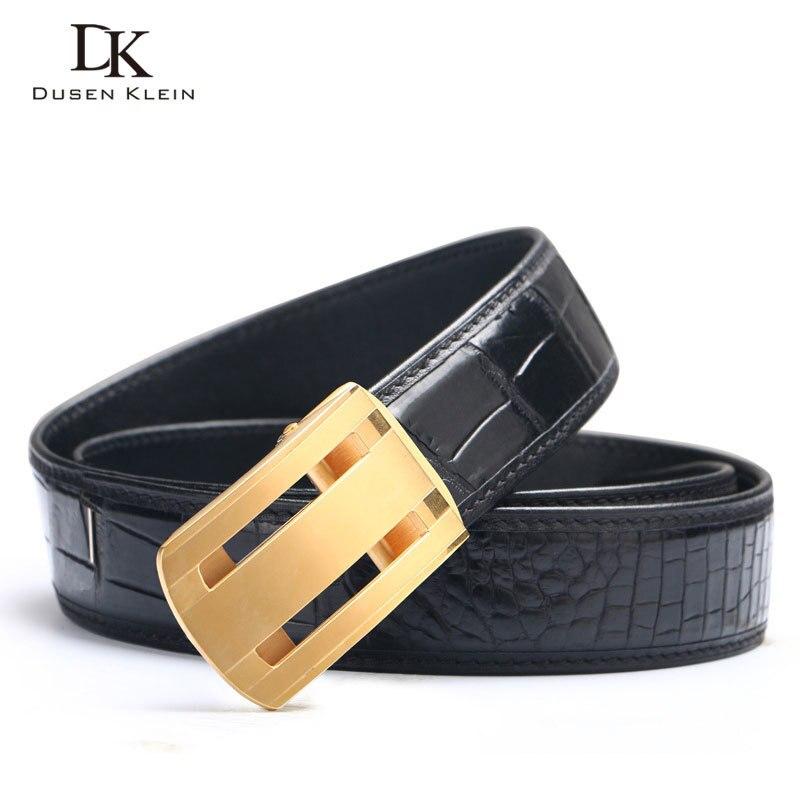 Nuevo cinturón de cocodrilo genuino cinturón de hebilla de acero inoxidable para hombre de negocios casual cuero cocodrilo cintura negro/marrón Correa E318 - 2
