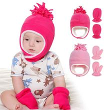 Шапка и перчатки для детей Теплый Бархатный комплект из шапки