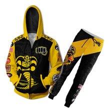 S-4XL o karate criança cobra kai jaqueta hoodies 3d impressão animação roupas cosplay casaco moletom com zíper com capuz traje