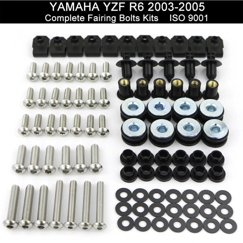 Untuk Yamaha YZF R6 YZF-R6 2003 2004 2005 R6S 2006 2007 2008 2009 Hadiah Baut Kit Kecepatan Kacang Sekrup kit Stainless Steel