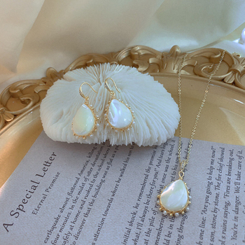 Handmade Natural Shell Water Drop Dangle Earrings Elegant Simulated Pearls Temperament Earrings for Women Girls Gift 2020 image