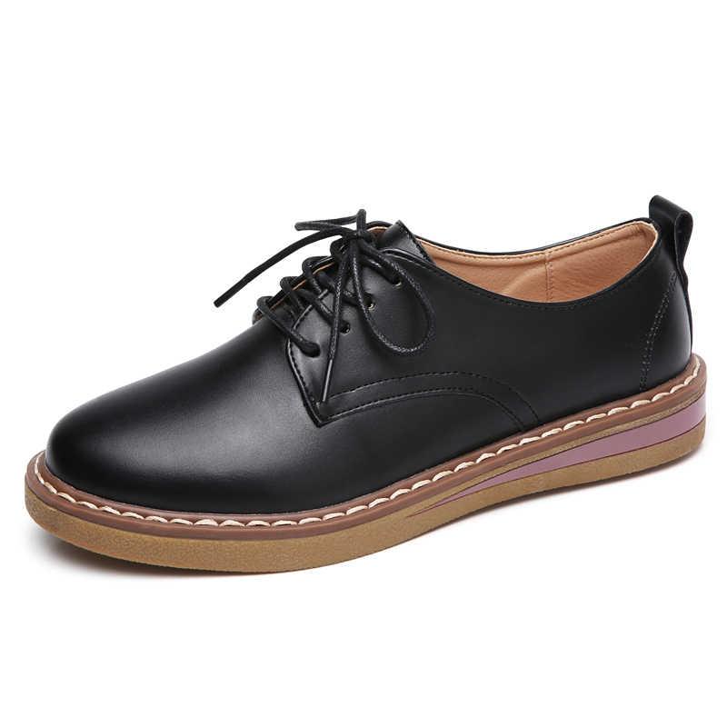 Plardin Yeni Eğlence Hakiki Deri Dikiş Paten Ayakkabı Düz Kadın Ayakkabı Bale Dantel Up Muhtasar Spor Ayakkabı Kadınlar Flats rahat ayakkabılar